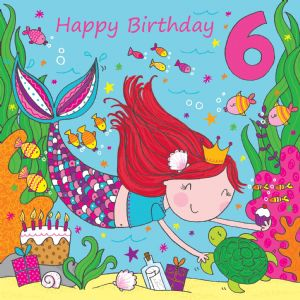 LIL6 - Age 6 Girls Birthday Card Mermaid